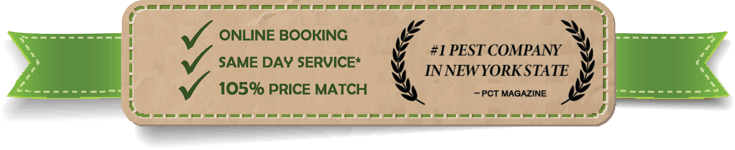 online booking, same day service, price match guarantee - #1 pest company in New York